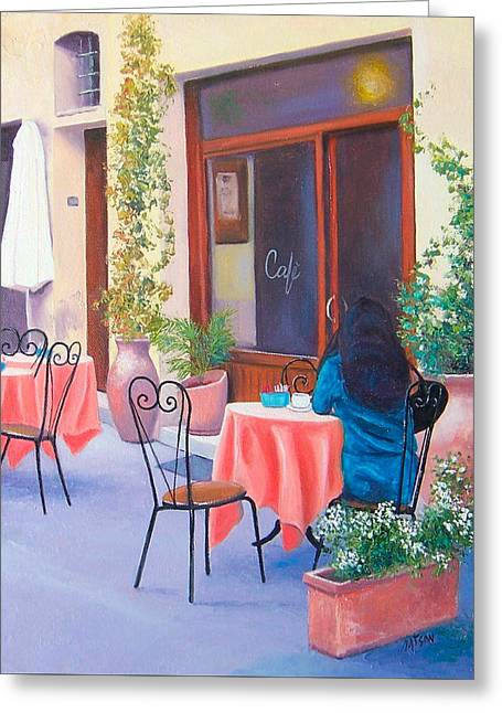 Table And Chairs Greeting Cards - The Rendezvous Montalcino Greeting Card by Jan Matson