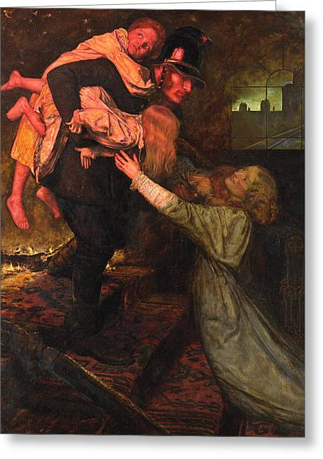 Pre-19th Greeting Cards - The Rescue Greeting Card by John Everett Millais