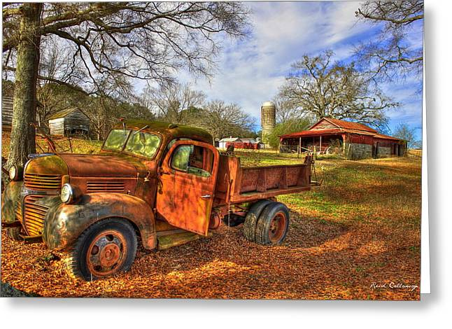 The Resting Place 2 Farm Life 1947 Dodge Dump Truck Art Greeting Card by Reid Callaway