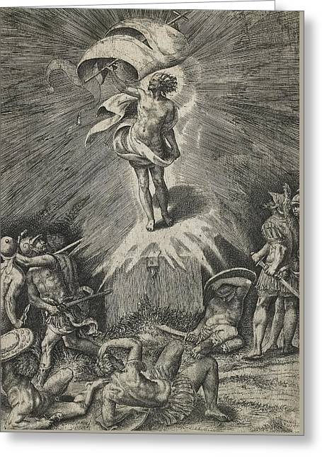 The Resurrection Greeting Card by Giulio Bonasone