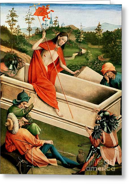 Coffin Greeting Cards - The Resurrection Greeting Card by Johann Koerbecke