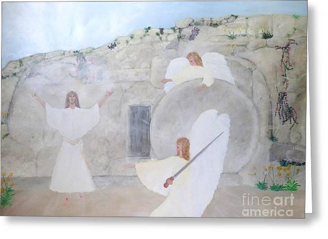 Lamb Of God Paintings Greeting Cards - The Resurrection Greeting Card by Karen J Jones
