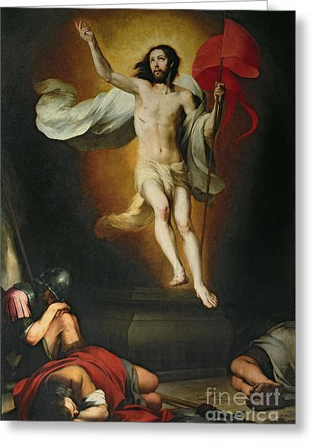 17th Greeting Cards - The Resurrection of Christ Greeting Card by Bartolome Esteban Murillo