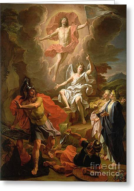 Biblical Greeting Card featuring the painting The Resurrection Of Christ by Noel Coypel