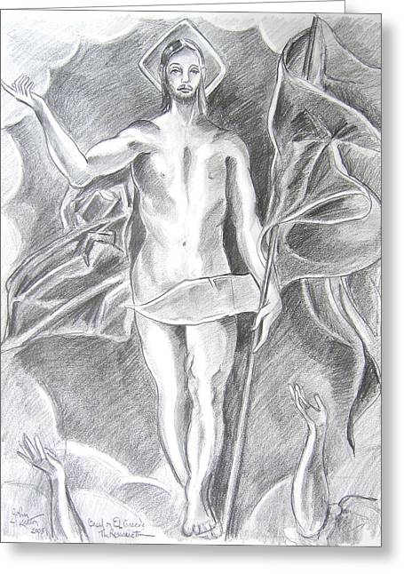 Resurrection Drawings Greeting Cards - The Resurrection of Jesus Greeting Card by John Keaton