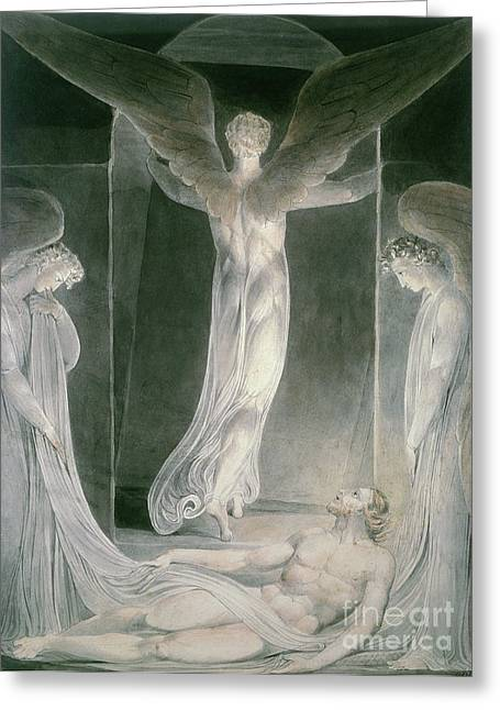 Messenger Greeting Cards - The Resurrection Greeting Card by William Blake
