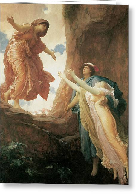 Frederick Greeting Cards - The Return of Persephone Greeting Card by Frederick Leighton
