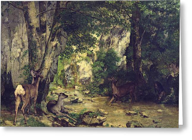 Gustave Courbet Greeting Cards - The Return of the Deer to the Stream at Plaisir Fontaine Greeting Card by Gustave Courbet