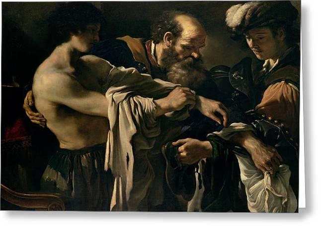 The Return of the Prodigal Son Greeting Card by Giovanni Francesco Barbieri