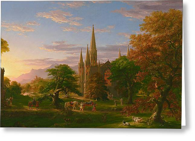 Homecoming Greeting Cards - The Return Greeting Card by Thomas Cole