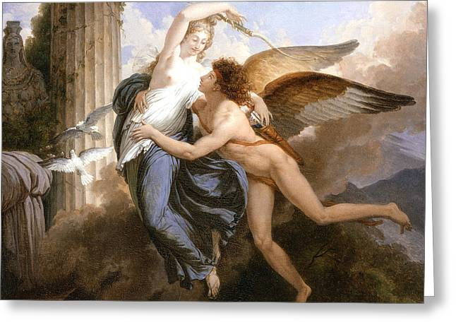 Metamorphoses Greeting Cards - The Reunion of Cupid and Psyche Greeting Card by Jean Pierre Saint-Ours
