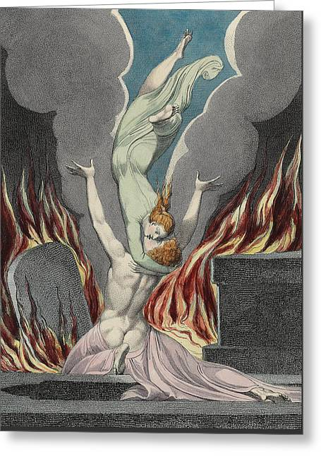 William Drawings Greeting Cards - The Reunion of the Soul and the Body Greeting Card by Sir William Blake