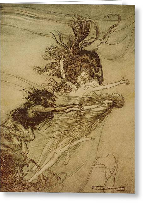 Fairies Drawings Greeting Cards - The Rhinemaidens teasing Alberich Greeting Card by Arthur Rackham