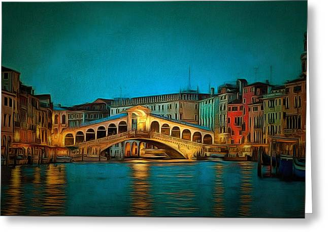 Print On Canvas Greeting Cards - The Rialto Bridge Greeting Card by Mario Carini