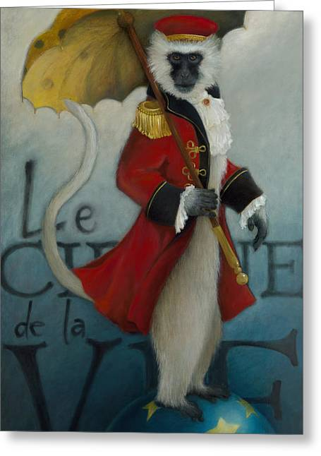 Primate Greeting Cards - The Ringmaster Greeting Card by Katherine DuBose Fuerst