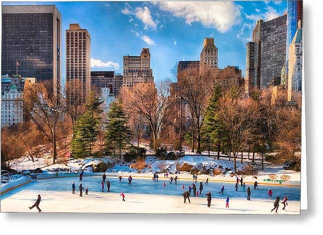 Ice-skating Greeting Cards - The Rink at Central Park Greeting Card by Elle Kriser