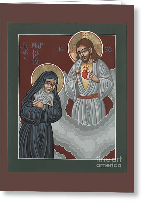 St Margaret Paintings Greeting Cards - St Margaret Mary and the Sacred Heart 238 Greeting Card by William Hart McNichols