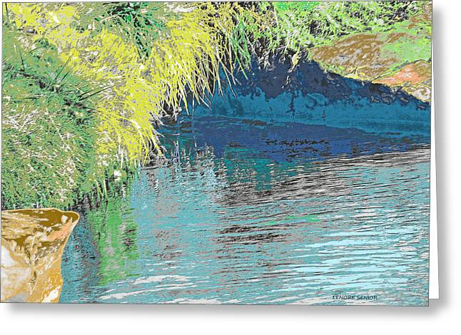 White River Scene Mixed Media Greeting Cards - The River Cave Greeting Card by Lenore Senior