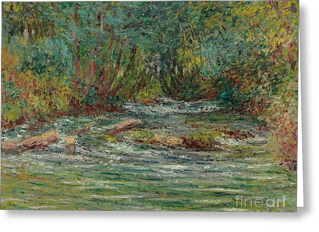 Haze Paintings Greeting Cards - The River Epte at Giverny in Summe Greeting Card by Claude Monet
