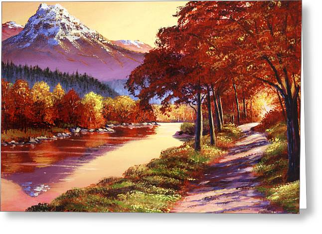 Autumn Landscape Paintings Greeting Cards - The River Runs Gold Greeting Card by David Lloyd Glover