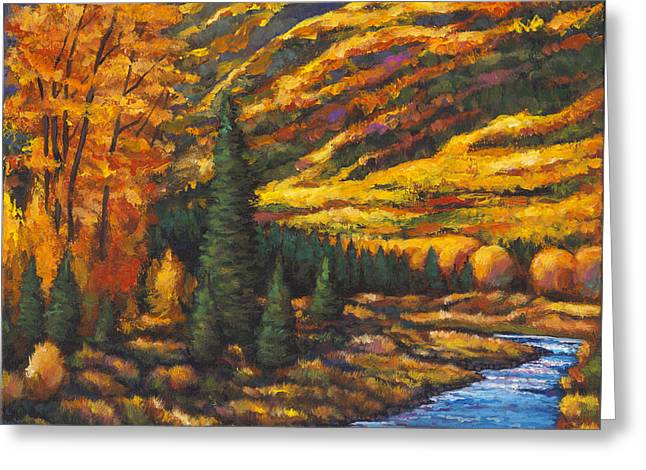 Autumn Landscape Paintings Greeting Cards - The River Runs Greeting Card by Johnathan Harris