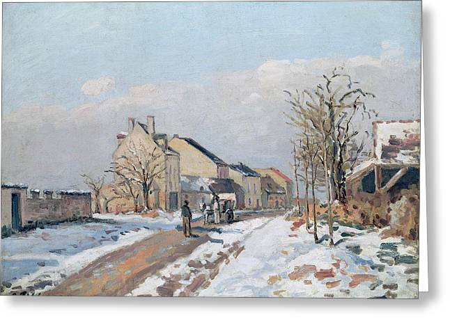 Bare Trees Greeting Cards - The Road from Gisors to Pontoise Greeting Card by Camille Pissarro