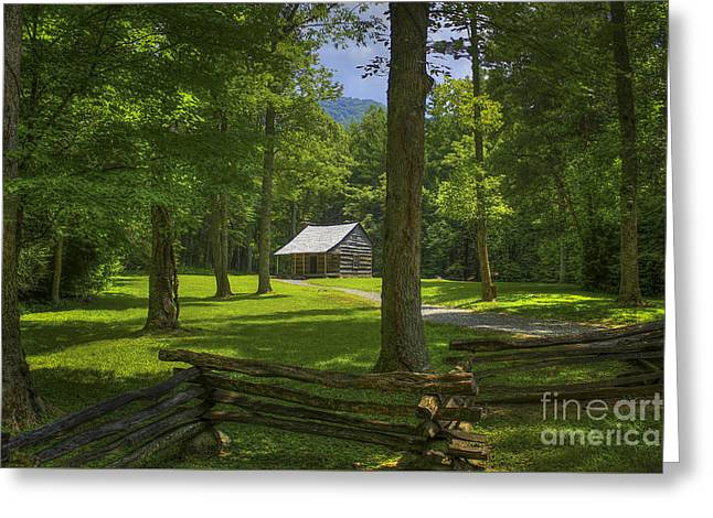 Scenic Greeting Cards - The Road Home Cades Cove Cabin  Greeting Card by Reid Callaway