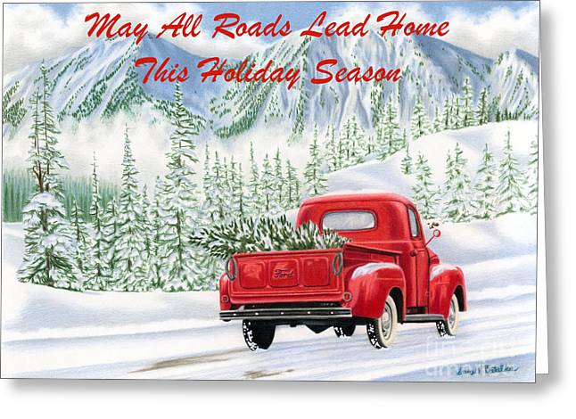 Winter Road Scenes Drawings Greeting Cards - The Road Home- with text Greeting Card by Sarah Batalka