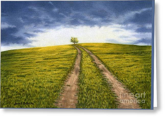 Storm Clouds Drawings Greeting Cards - The Road Less Traveled Greeting Card by Sarah Batalka