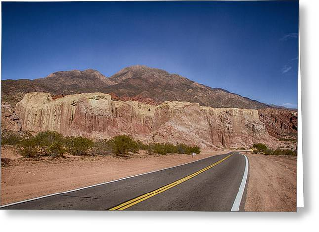 Pyramids Greeting Cards - The road throw the mountains Greeting Card by Hernan Caputo