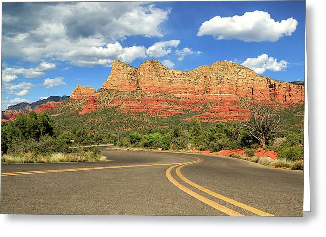 Yellow Line Greeting Cards - The Road To Sedona Greeting Card by James Eddy