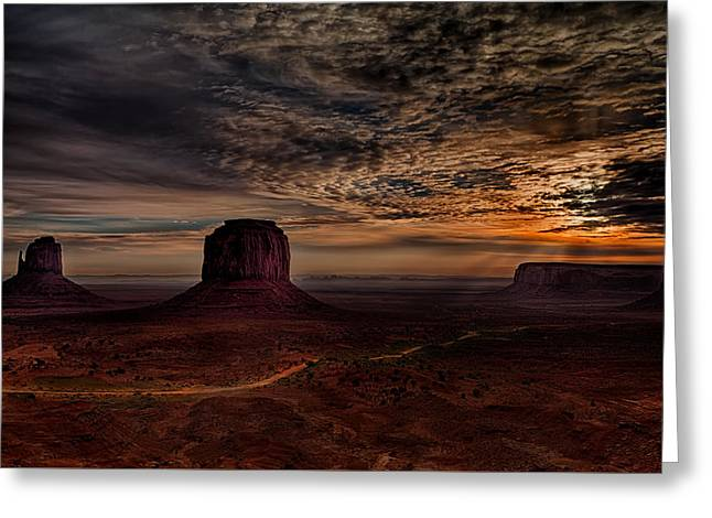 Monolith Greeting Cards - The Road to Sunrise Greeting Card by Janet Ballard