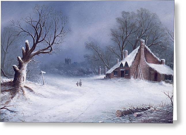 The Road To The Church Greeting Card by GB MacDonald