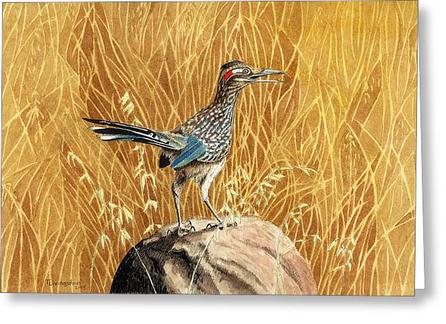 Ink Drawing Greeting Cards - The Roadrunner Greeting Card by Timothy Livingston