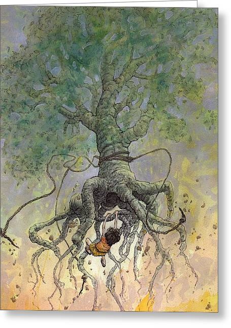 Rope Greeting Cards - The Roaming Oak Greeting Card by Ethan Harris