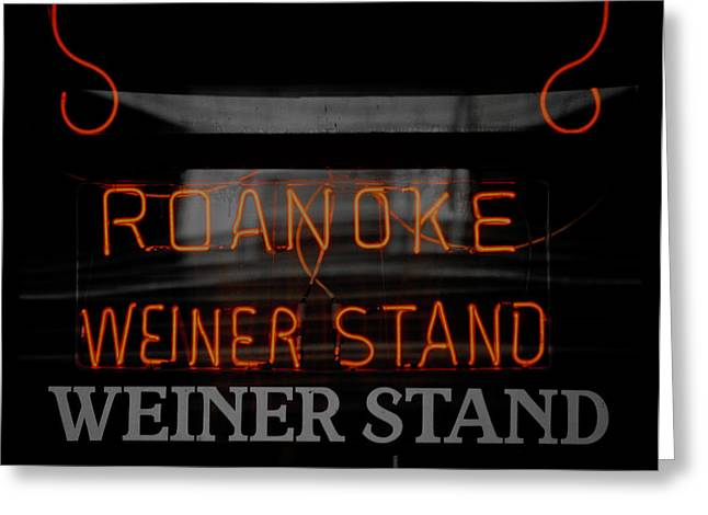 Weiner Dog Greeting Cards - The Roanoke Weiner Stand 3 Greeting Card by Teresa Mucha