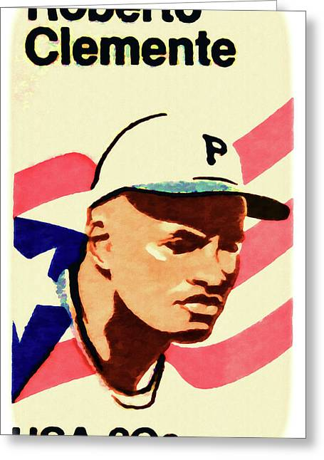 Roberto Clemente Paintings Greeting Cards - The Roberto Clemente  Greeting Card by Lanjee Chee