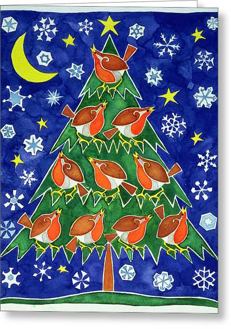 Robin Greeting Cards - The Robins Chorus Greeting Card by Cathy Baxter