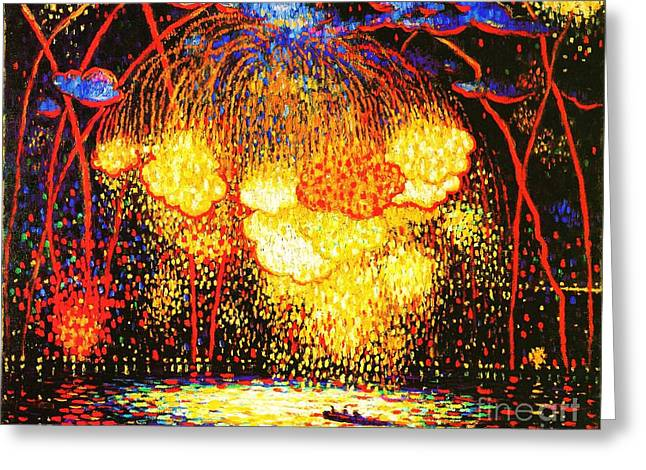 Fireworks Display Greeting Cards - The Rocket Greeting Card by Pg Reproductions
