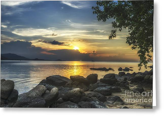 Michelle Greeting Cards - The Rocks At Dusk Greeting Card by Michelle Meenawong