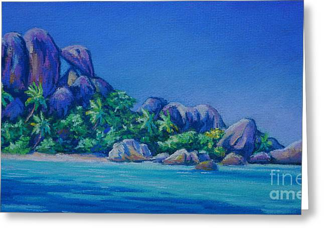 Tropical Oceans Pastels Greeting Cards - The Rocks on La Digue  Panoramic Greeting Card by John Clark