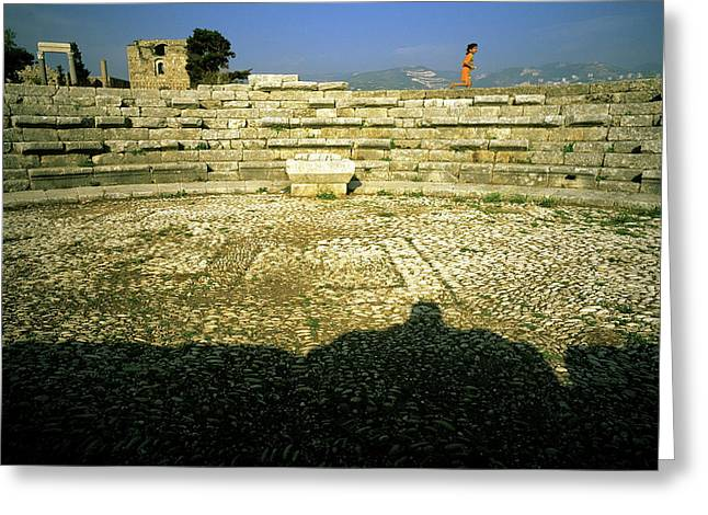 Osten Greeting Cards - The Roman Theatre Greeting Card by Tarek Charara