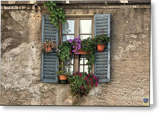 The Romantic Charm Of An Old Italian Window Greeting Card by Casavecchia Photo Art