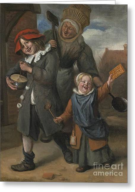 Steen Greeting Cards - The Rommelpot Player Greeting Card by Jan Havicksz Steen