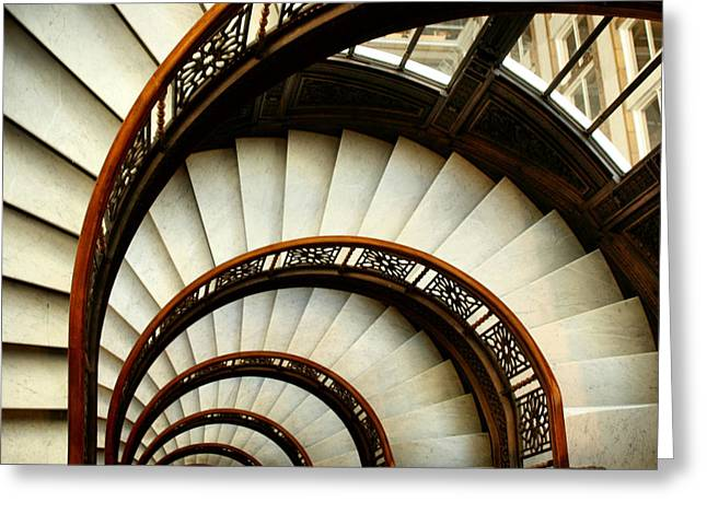 Spiral Staircase Photographs Greeting Cards - The Rookery Spiral Staircase Greeting Card by Ely Arsha