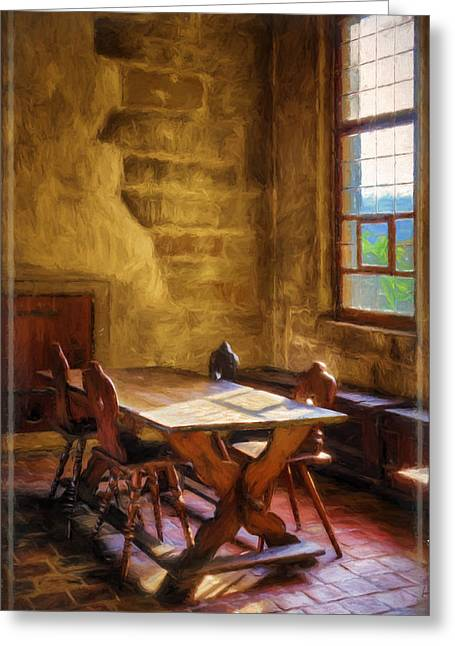 Table Greeting Cards - The Room on the Side II Greeting Card by Joan Carroll
