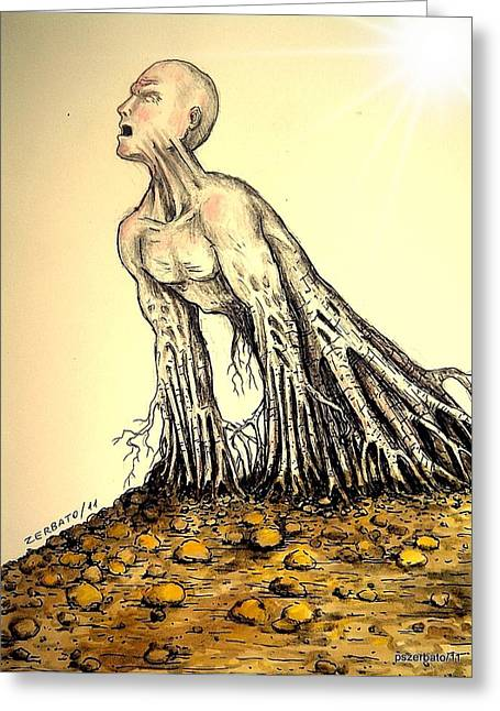 Psychological Defects Greeting Cards - The Roots Are Deep Greeting Card by Paulo Zerbato