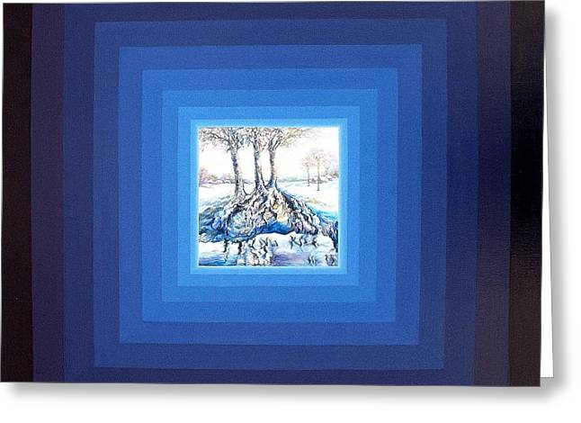 Tree Roots Paintings Greeting Cards - The roots of life in the square of time Greeting Card by Maya Bukhina