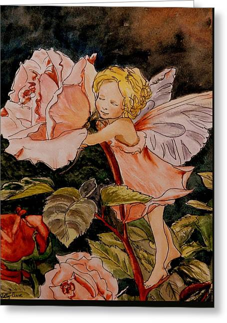 Fairy Hearts Pink Flower Greeting Cards - The Rose Fairy After Cicely Mary Barker Greeting Card by Betty-Anne McDonald
