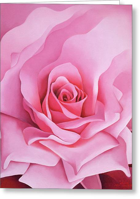 Close Up Paintings Greeting Cards - The Rose Greeting Card by Myung-Bo Sim